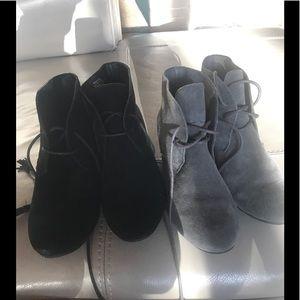 Leather/manmade black/gray bundle booties